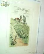 Színes német rézkarc -akvarell (Vegyestechnika)