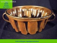 Q489 Antik kerámia kuglóf sütőforma