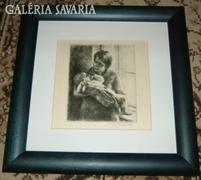 Kiss Terézia rézkarc : Anya gyermekével / új keretben/