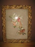 Almaszüret hímzett selyem kép -gyönyörű kereteben