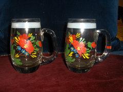 2 db csodaszép,kézzel festett üveg pohár