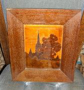 Hagyatékban fellelt antik kép, fenyő keretben