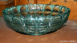 Antik zöld üveg asztalközép - mély kínáló tál