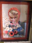 Varázslatos pasztellkép kislány mezei csokorral