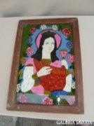 Szent Borbála üvegre festett ikonképe