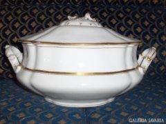 Antik porcelán leveses tál - fedél fogója hibás