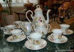 Zajecar barokk jelenetes jugoszláv kávés készlet