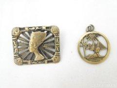 5554 Régi réz egyiptomi női bross és medál