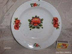 Régi, virágos zománcos tányér - kézzel festett