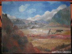 Nagybányai stílusú Jelzett olajvászon kép