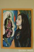 Nagyméretű akril festmény, női portré