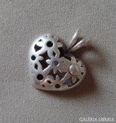 Ezüst, szív formájú függő / medál
