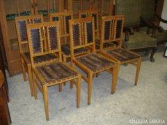 6 db. szecessziós szék, eredeti bőrhuzattal