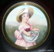 Francia miniatűr kézi festés: Kalapos kislány virágokkal