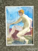 Ismeretlen festő: Női akt, akvarell tanulmány