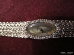 28 g tömör 14 K arany óra, 0,4 ct brill luxus ékszeróra !