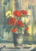 Gábry jelzéssel : Virágok vázában