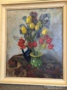 Tóth B. László 1954 / Tulipános csendélet