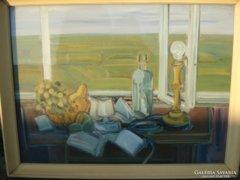 Baticz Levente olaj farost festmény. Csendélet