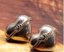 Szív alakú, 925 ezüst fülbevaló