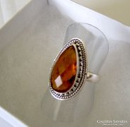 Citrinköves(méz)  ezüst  gyűrű  925 Sterling,méret USA 7,5