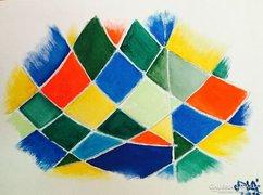 Hajlított sík- kortárs absztrakt festmény, a művésztől