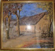 Bodnár B.: Ház a falu szélén / pasztell