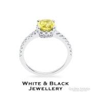 1,72 karátos sárga gyémánt eljegyzési gyűrű, fehérarany - Új