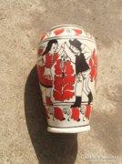 KORONDI SZÉKELYRUHÁS VÁZA, kézzel festett 25 cm.