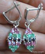 925 ezüst fülbevaló rubin, smaragd, zafír drágakő