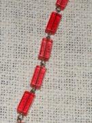 Eper színű üveg nyaklánc