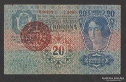 20 korona 1913.  I. kiadás!!!   (Magyaro felülbélyegzett)!!!