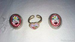 Milefiori klipsz és gyűrű