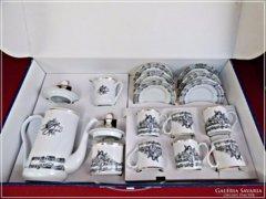 Hangjegy mintás kávéskészlet dobozában Hollóházi