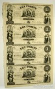 """1 forint 1852. """"A, B, C, D"""".  (4-es ívben)!! UNC !  RITKA!!!"""