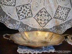 Francia ezüstözött alpakka szépséges tál