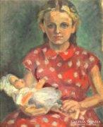 Bányai Erzsébet : Szőke kislány babával