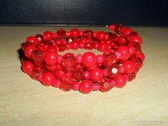 Piros 4 soros Briolett kr.Gyöngy karkötő