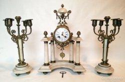 Antik kandalló óra szett