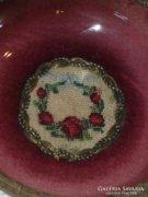 Ékszertartó tányérka tű gobelin betéttel