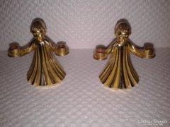 Angyalkás aranyozott vagy réz szobor, gyertyatartók