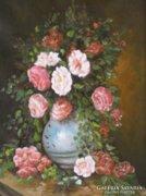 Virágcsendéletet ábrázoló kép blanden keretben