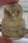 Kézzel faragott nefrit-jáde Buddha medál, amulett