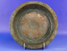 0E166 Antik ónozott vörösréz tányér tál