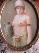 Gyönyörű miniatűr félakt 1850
