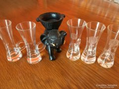 5 db Antik Maratott Rózsás Füles feles - pálinkás pohár
