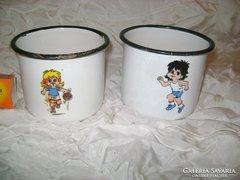 Két darab régi zománcos csésze - együtt eladó