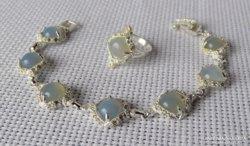Gyönyörű ezüst szett opállal vagy opalittal és kristályokkal
