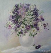 Harangvirágos csokor vázában - festmény,csendélet