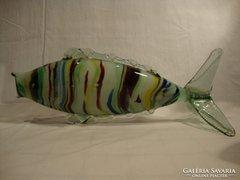 Nagyméretű színes üveg hal szobor , váza 40 cm